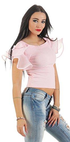 11177 Fashion4Young Trägerloses Damen Bandeau-Shirt Kurzarm Shirt Kurzpulli Volantärmel schulterfreies Shirt Rosa
