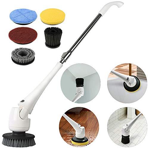 HWJF Elektrischer Fußbodenwäscher, kabellose elektrische Reinigungsbürste, rotierendes Handwaschwerkzeug, verstellbare Länge, 5 auswechselbarer Bürstenkopf, Boden, Bad, Bad, Badewanne, Pool-Car