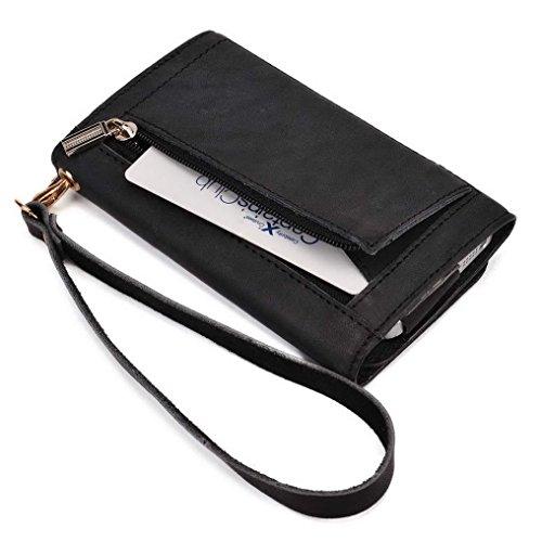 Kroo Pochette Housse Téléphone Portable en cuir véritable pour Panasonic T21/T41 Marron - peau noir - noir