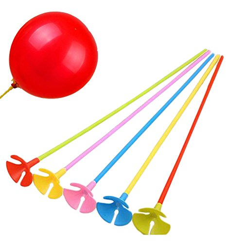 Milopon 100x Ballonstäbe mit Cup/Kappe für Luftballons bunt 40cm