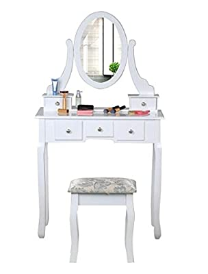 Bigzzia White Dressing Table with Stool 5 Drawers and Oval Mirror Shabby Chic Bedroom Vanity Dresser Adjustable Set - cheap UK light store.