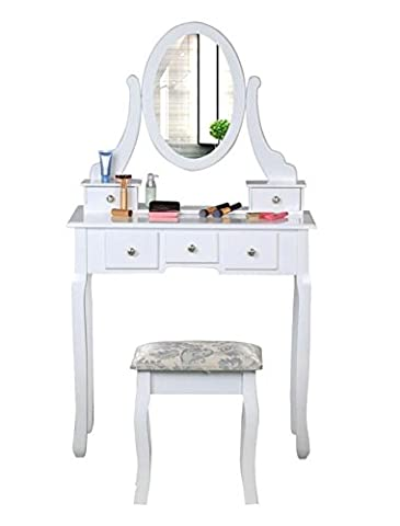 Bigzzia White Dressing Table with Stool 5 Drawers and Oval Mirror Shabby Chic Bedroom Vanity Dresser Adjustable Set