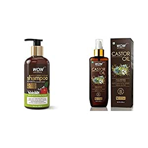 Wow Apple Cider Vinegar No Parabens & Sulphate Shampoo, 300Ml And Wow 100% Pure Castor Oil - Cold Pressed - For Stronger Hair, Skin & Nails - No Mineral Oil & Silicon