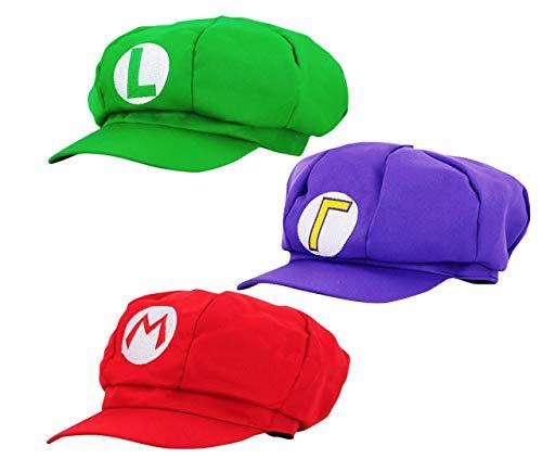 thematys Super Mario Mütze + Luigi + Waluigi - 3er Kostüm-Set für Erwachsene & Kinder - perfekt für Fasching, Karneval & Cosplay - Klassische Cappy - Luigi Und Waluigi Kostüm