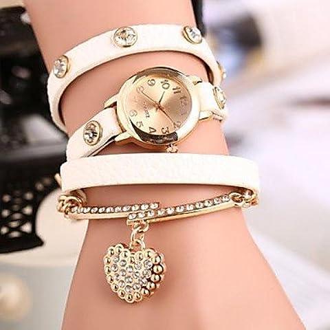 Fenkoo Moda Winding vigilanza del braccialetto Retro pendente del cuore Student Watch (colori assortiti)