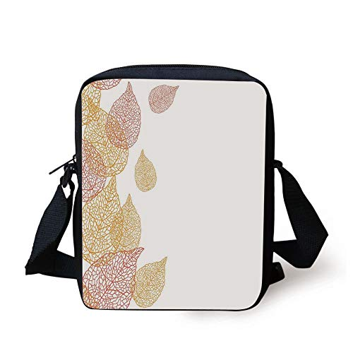 Leaves,Illustration of Fall Leaves Stylish Modern Pattern Romantic Simple Art with Soft Colors Decorative,Coral Gold Print Kids Crossbody Messenger Bag Purse