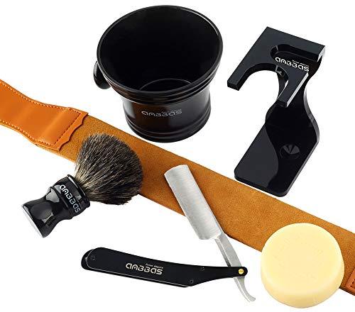 Rasierset Luxus Herren Geschenk Set Rasierpinsel reines Dachshaar silberspitz shaving brush badger Ständer Rasierseifen für Nassrasur