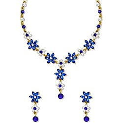 Zaveri Pearls Royal Blue Leaf Stone with Austrian Diamond Floral Necklace Set For Women - ZPFK5185