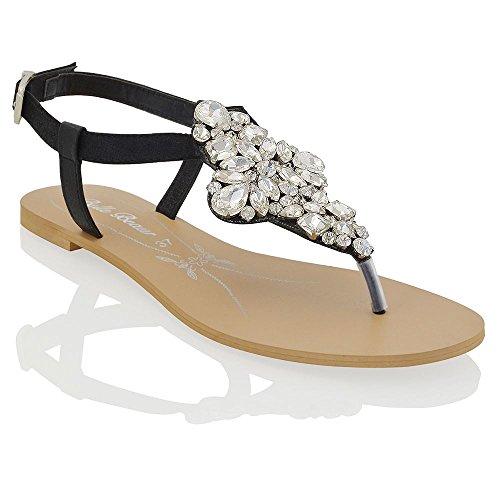Essex glam sandalo donna nero vacanze infradito t-bar finto diamante eu 42