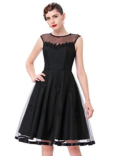 Yafex Damen Vintage Retro 1950er Kleid Festliche Kleid Hepburn Stil ZYB00112 BP112 Schwarz