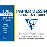 Clairefontaine - 760441 - Pochette de 12 feuilles papier dessin - 24 x 32 cm - 180 g - Blanc