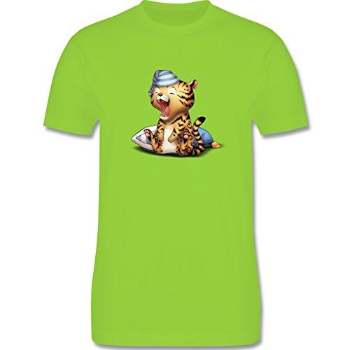 Wildnis - Gähnender Leopard - Herren Premium T-Shirt Hellgrün