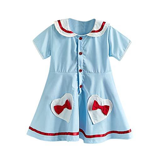 rzarm Kleid Kind Herz Seemann Kragen Bogen Rock Baby Prinzessin Kleid Kleidung Sommer bequemes Kleid Casual Rock ()
