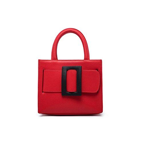 Donne Cuoio Genuino Di Grande Capacità Di Spalla Crossbody Bag Borsa. Red2