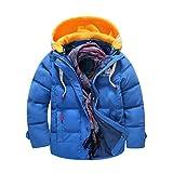 JEELINBORE Kinder Winterjacke Mantel mit Abnehmbarer Kapuze Daunenjacken Verdickte Herbstjacken Trenchcoat für Jungen Mädchen (Blau, 120)