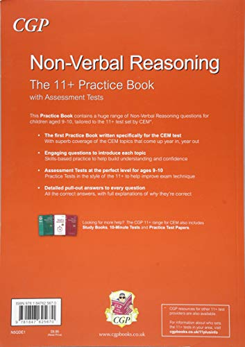 11+ Non-Verbal Reasoning Practice Book with Assessment Tests (Ages 9-10)  for the CEM Test (CGP 11+ CEM) — Euphoria Mall
