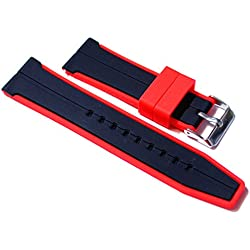 24mm Watch Strap. Black with Red Edge in Silicone Rubber.