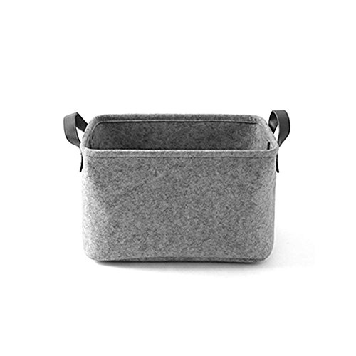 LEISURE TIME Aufbewahrungskörbe, Filz Aufbewahrungsbox mit Griffband Organizer Box Container für Kinder Spielzeug Truhen Bekleidung Wäsche (Light Gray, Large) -
