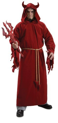 Teufel-Kostüm Verkleidung Gr. 52 / 54 Fasching Karneval Robe mit Kapuze Teufelshörner Devil Satan Umhang Hölle Hell Erzengel Herren Damen - Satan Teufel Kostüm