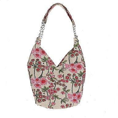 Mode pastorale L.'s West Frauen style Perlen Tasche handgefertigte Leinen Leinen Beutel Coffee