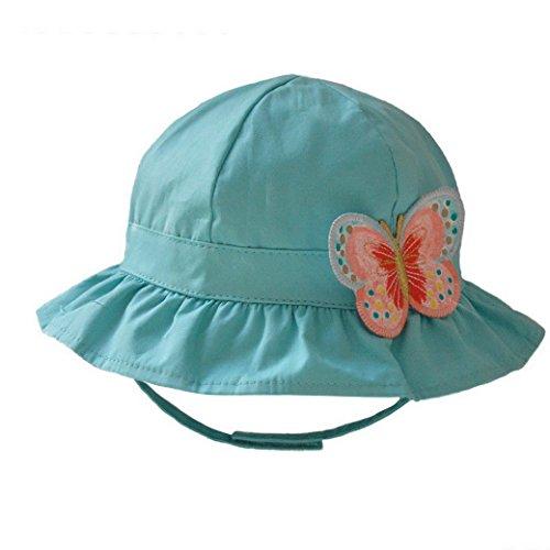 Tangda Baby Mütze Mädchen Baumwolle Strand Sonnenhut Kids Hut Schmetterling Muster Sommer Kappe UV Schutz Babymütze 48cm - Grün