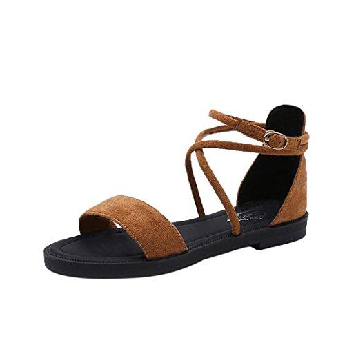 Scarpe da donna,kword sandali donna piatta croce cinghie open toe fibbia tacco basso sandali cuneo estate (cn:38/eu:37, sandali giallo)