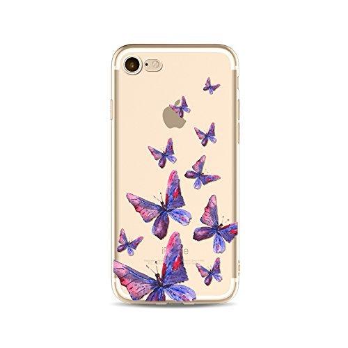 Coque iPhone 7 Housse étui-Case Transparent Liquid Crystal en TPU Silicone Clair,Protection Ultra Mince Premium,Coque Prime pour iPhone 7-Le Papillon-style 18 12