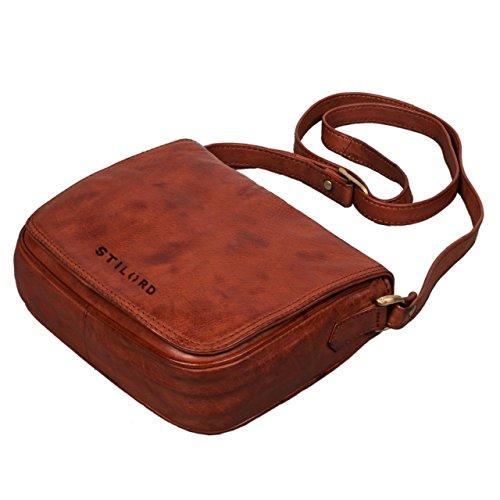 STILORD 'Isabelle' Borsa a spalla piccola donna pelle borsa a mano vintage borsa a tracolla chic borsetta borsa messenger in vera pelle, Colore:cognac - used cognac - used