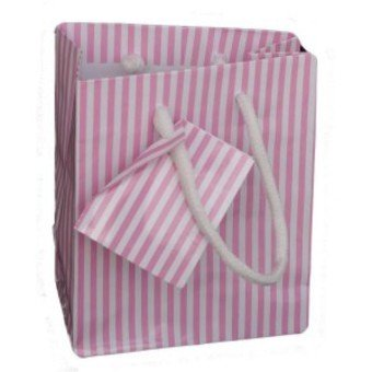 Gift Bag Paper Roses Stripes 14 x 11 x 6 cm (Pack 5 Bags)