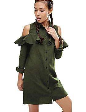 Magiyard Mujeres fuera de la blusa de hombro de manga corta de largo Casual Tops Camiseta
