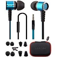 Basn, auriculares estéreo con micrófono, cable plano anti-enredos, auricular de bajo