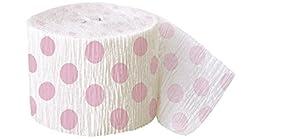 Unique Party- Serpentinas de papel crepé a lunares, Color rosa claro, paquete de 1 (63119)
