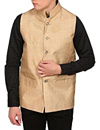 Wintage Men's Golden Muga Silk Grandad Collar Festive Golden Nehru Jacket Vest Waistcoat
