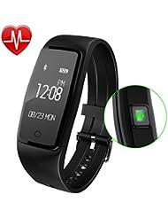 GULAKI Bluetooth 4,0 Fitness Armbänder mit Pulsmesser,Smart Fitness Tracker mit Herzfrequenzmesser, Schrittzähler, Schlaf-Monitor, Aktivitätstracker, Remote Shoot, Anrufen / SMS, finden Telefon für Android iOS Smartphone