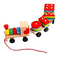 Wooden Toys Stacking Train Blocks, Pull Toy Promotes Baby Development. Educational Toys for Toddlers with 20 Wooden Shapes and 1 Train Toy