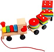 Wooden Toys Stacking Train Blocks, Pull Toy Promotes Baby Development. Educational Toys for Toddlers with 20 W