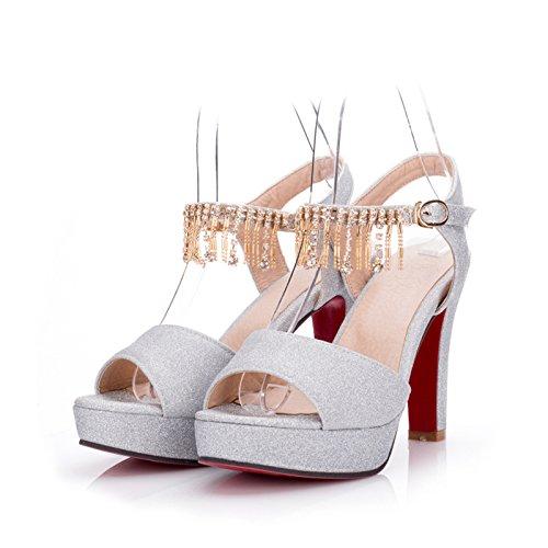 Donne sandali bocca di pesce scarpe tacchi alti Silver