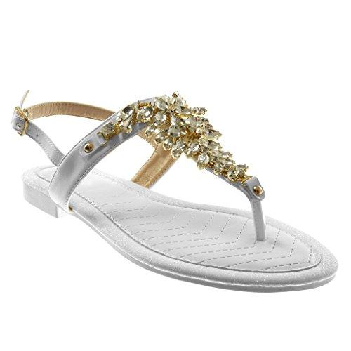 Angkorly - Scarpe Moda Sandali Infradito con Cinturino alla Caviglia Cinturino Donna Gioielli Strass Paillette Tacco a Blocco 1.5 CM - Bianco RS158 T 38