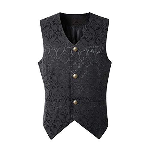Dasongff Herren Gothic Mittelalter Weste Sakko Vintage Frack Jacke Retro Gothic Victorian Steampunk Coat Uniform Party Kostüm Vampir Cosplay Verkleidung Viktorianisch Vest (Schwarz, - Herren Viktorianischen Kostüm Muster