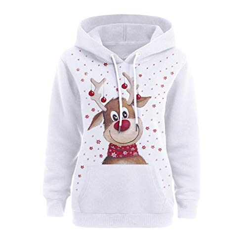 VEMOW Damen Kapuzenpullover Herbst Winter Langarm Sweatshirt mit Kapuzen Weihnachten Cartoon Drucken Hoodie Top Frauen Karneval Streetwear