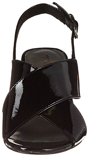 Tamaris Damen 28395 Offene Sandalen mit Keilabsatz Schwarz (BLACK PAT. UNI 080)
