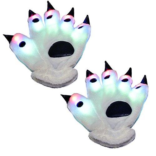 LED Handschuhe, DAXIN Bär Paw Claw Handschuhe mit bunten Blinklichtern und 6 Glowing Mode für Rave Led, Geburtstag, Fantastische Kostüm Party, Freizeitaktivität (Halloween Panda Kostüm Bear)