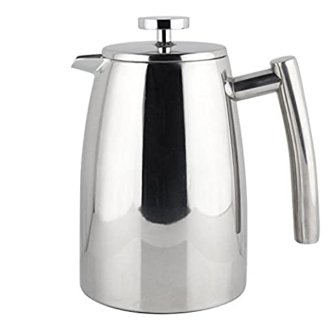 Elegant Stainless Steel Cafetiere Insulated Double Wall French Coffee Press with Spare Screen 8 cup 1 Litre (34oz) - Pistone Parete