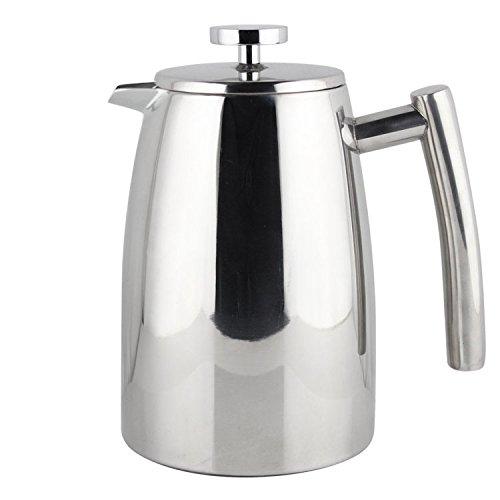 Kaffeebereiter elegantes Design aus poliertem, spiegelnden Edelstahl, doppelwandig isoliert, mit Ersatz-Sieb, 1l - Thermo Foto Drucker