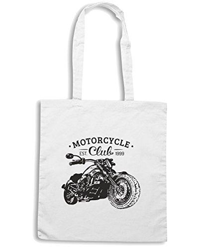 T-Shirtshock - Borsa Shopping TB0239 chopper sign motorcycle garagetype vintage biker Bianco