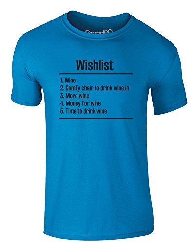Brand88 - Wishlist: Wine, Erwachsene Gedrucktes T-Shirt Azurblau/Schwarz