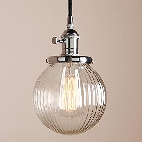 Pathson 15cm Industrial Vintage Modern Loft Bar Kitchen Island Switch Pendant Light Edison Hanging Ceiling Lamp Lighting Chandelier with Ribbed Globe Clear Glass Light Shade (Chrome)