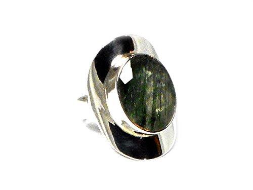 Anello ovale in argento 925sterling rutilo quarzo verde (taglia K/5)-(rqr2805154)