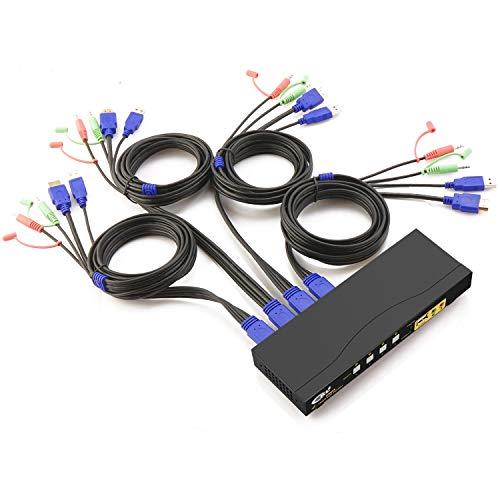 4 Port KVM Switch HDMI 4K mit Kabeln und USB 2.0 HUB Unterstützung Audio und Mikrofon, PC Monitor Tastaturmaus Umschalter Auswahlbox Vorgestellt Hotkey und Auto Scan CKL-64HUA -