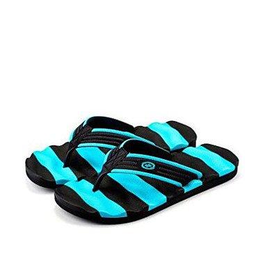Slippers & amp da uomo;Comfort Gomma Molla casuale Nero / Giallo Nero / Blu Nero / Bianco piatto, Bl sandali Black/Blue